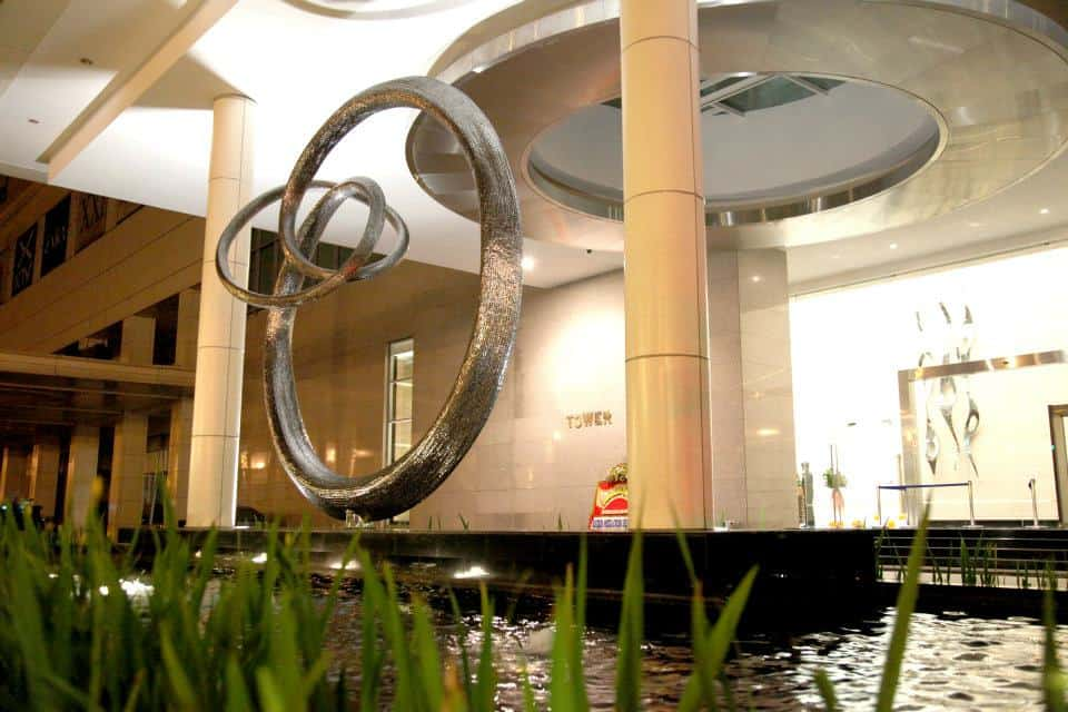 large interior stainless steel sculpture