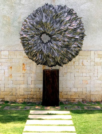 stainless steel sphere garden sculpture