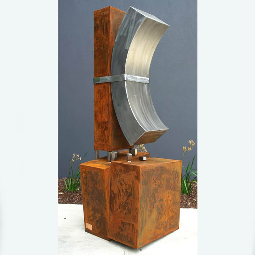 metal garden art, cubist