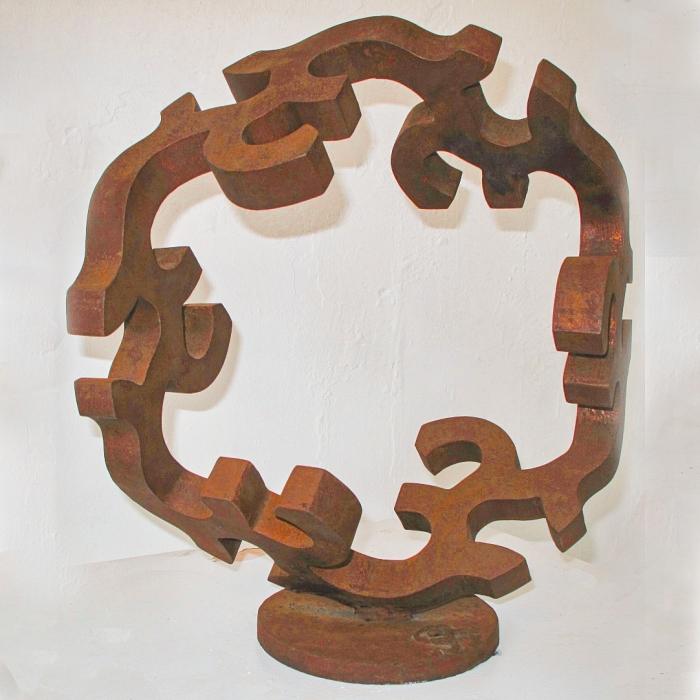 metal garden art, spherical sculpture