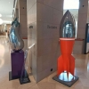 rocket sculpture in stainless
