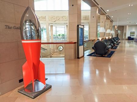 stainless steel rocket sculpture, modern Australian, pop art sculpture