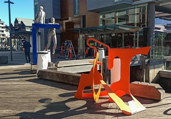circus-orange-metal-sculpture-walsh-bay-sydney