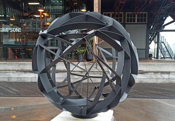 duel-axis_spherical-garden-sculpture-metal-garden-art-walsh-bay-sydney